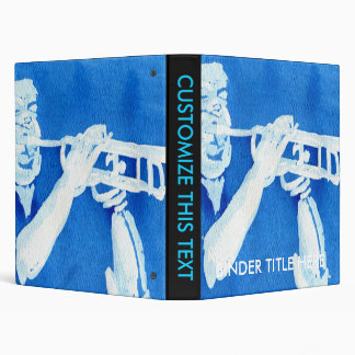 Blue watercolour painting of trumpet player binder