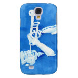 Blue watercolour painting of trumpet player galaxy s4 cover