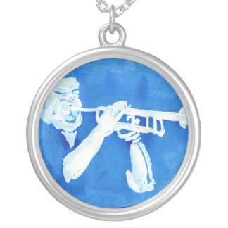 Blue watercolour painting of trumpet player custom jewelry
