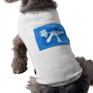 Blue watercolour painting of trumpet player dog tee shirt
