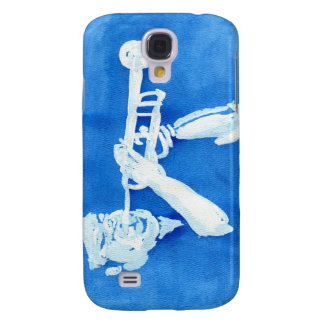 Blue watercolour painting of trumpet player galaxy s4 cases