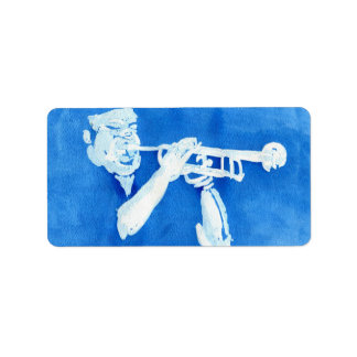 Blue watercolour painting of trumpet player custom address label