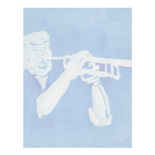 Blue watercolour painting of trumpet player letterhead design