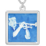 Blue watercolour painting of trumpet player custom necklace
