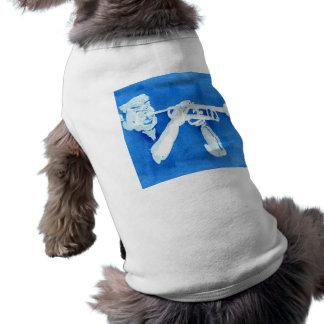 Blue watercolour painting of trumpet player pet t shirt
