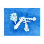 Blue watercolour painting of trumpet player postcard