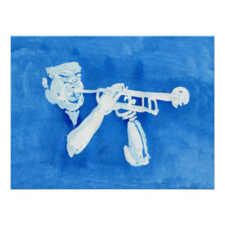 Blue watercolour painting of trumpet player poster