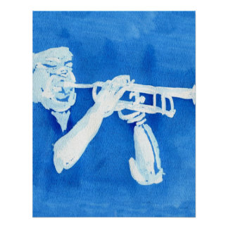 Blue watercolour painting of trumpet player print