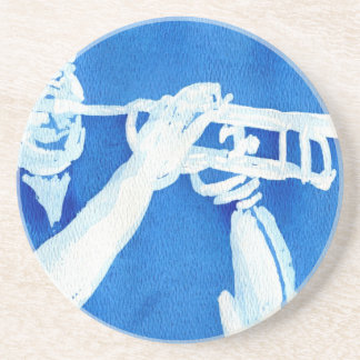 Blue watercolour painting of trumpet player sandstone coaster
