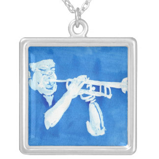 Blue watercolour painting of trumpet player square pendant necklace