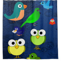 blue waterfall owls birds children's showercurtain shower curtain