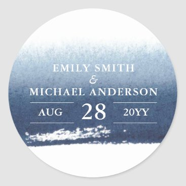 Beach Themed Blue Waters | Stickers Wedding Save the date Navy