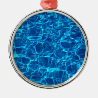 Blue Waters Swimming Pools Patterns Waves Round Metal Ornament