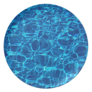 Blue Waters Swimming Pools Patterns Waves Summer Plate