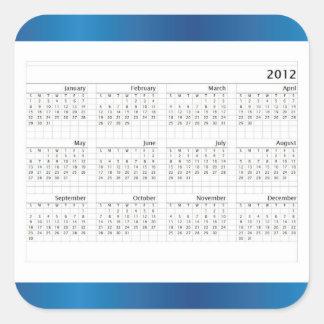 Blue Wave 2012 Calendar Square Sticker