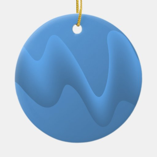Blue Wave Abstract Image Design. Christmas Ornaments