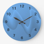 Blue Wave Abstract Image Design. Round Wallclock