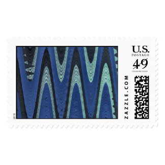 blue wave abstract stamp