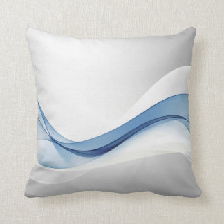 Blue Wave Abstract Throw Pillow