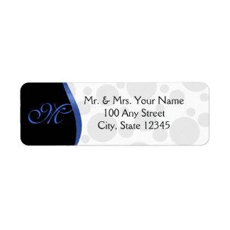 Blue Wave and Polka Dots Monogram Label