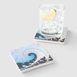 Blue Wave - fractal art Stone Coaster