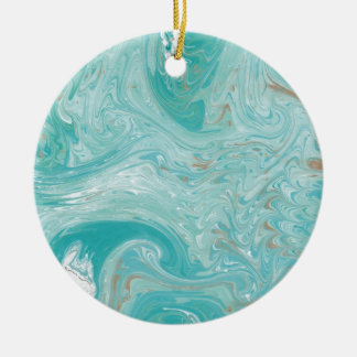 Blue Wave Marble Ceramic Ornament