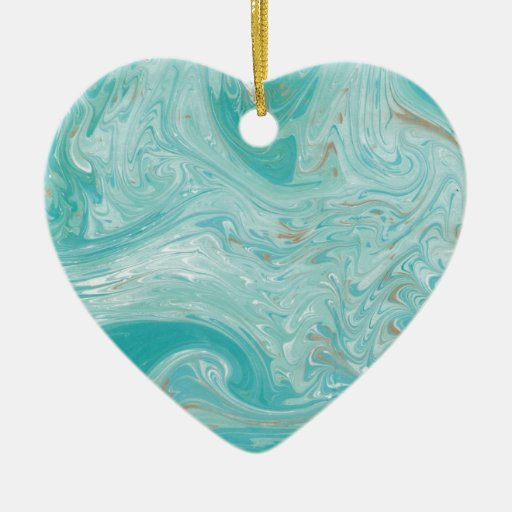Blue Wave Marble Christmas Tree Ornament