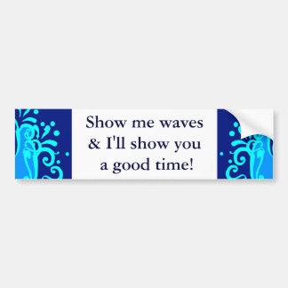 Blue wave modern designs bumper sticker