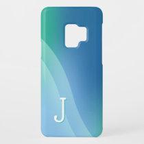 Blue Wave Monogrammed Samsung Galaxy S9 Case