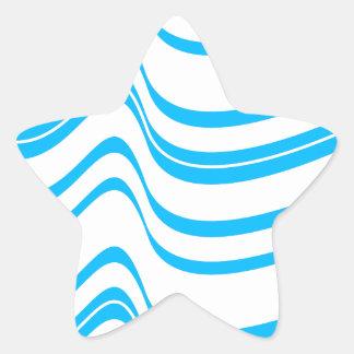 Blue Wave Pattern Star Sticker