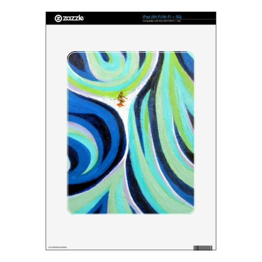 Blue Wave Surf Surfing Surfer Art Painting Skin For The iPad