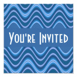 "blue waves 5.25"" square invitation card"