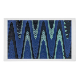 Blue Waves Abstract Poster
