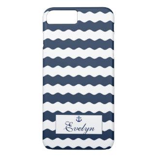 Blue Waves Anchor Monogram iPhone 8 Plus/7 Plus Case