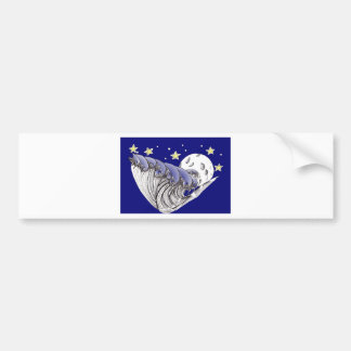 Blue Waves and Full Moon Bumper Sticker