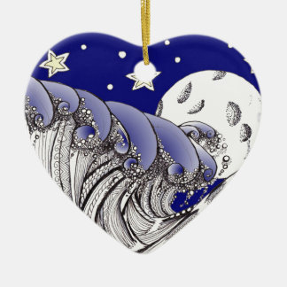 Blue Waves and Full Moon Ceramic Ornament