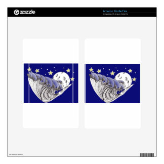 Blue Waves and Full Moon Kindle Fire Skins