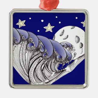 Blue Waves and Full Moon Metal Ornament