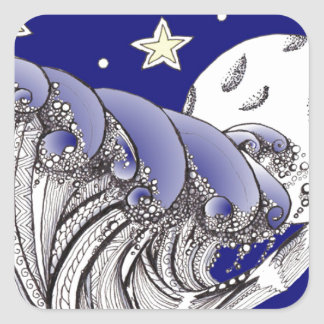 Blue Waves and Full Moon Square Sticker