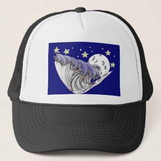Blue Waves and Full Moon Trucker Hat