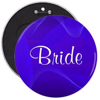 Blue Waves Bride Pinback Button