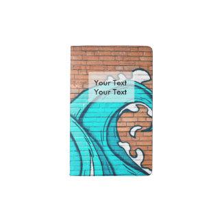 Blue Waves Cool Mural Wall Graffiti Pocket Moleskine Notebook