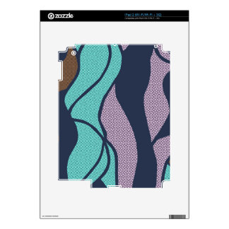 Blue Waves Copper Accent Design Decals For The iPad 2