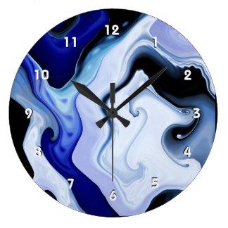 Blue Waves Large Clock