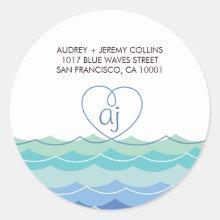 Blue Waves Loopy Heart Address Label Sticker