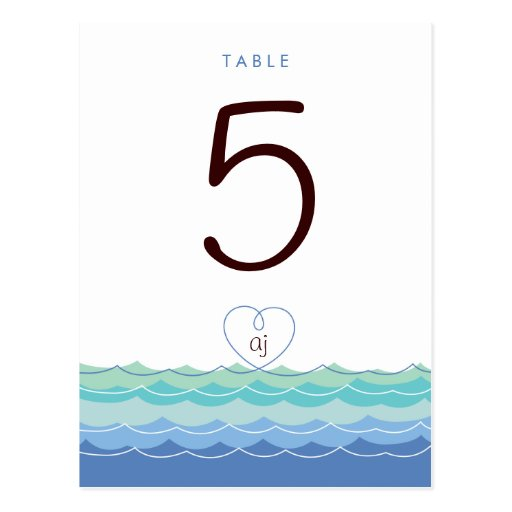Blue Waves Loopy Heart Beach Modern Table Number Postcard
