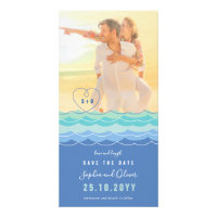 Blue Waves Loopy Heart Beach Photo Save The Date Card