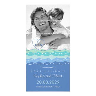 Blue Waves Loopy Heart Beach Save The Date Photo Card