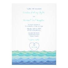 Blue Waves Loopy Heart Beach Wedding Invitation