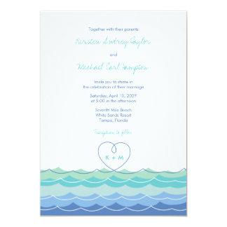 Blue Waves Loopy Heart Beach Wedding Invitation Personalized Invitations
